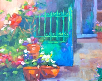 NOTECARDS - of Original Oil Painting of French Garden By Rebecca Croft