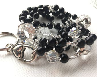 Tall Black Pearl and Crystal ID Lanyard for employee badge, office key, security card