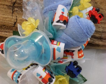 Train Themed Baby Shower Wrist Corsage - Baby Boy Corsage - Pin On Floral Corsage - Pacifier and Washcloths - Baby Shower Items