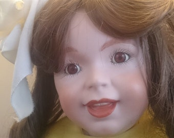 Vintage SFBJ Paris Doll Bisque Ceramic Porcelain Reproduction Artist Art Doll  236 Large Size 21 Inch with Glass Eyes and Teeth