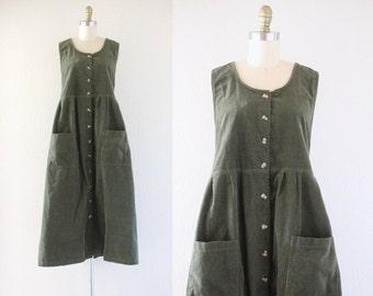 1990's / NOS oversized corduroy jumper dress