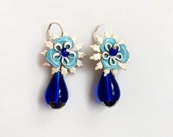 Blue Dangle Earrings, Cobalt Blue Drop Earrings, Flower Statement Earrings, White Blue Earrings