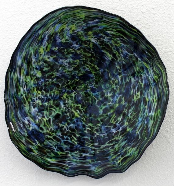 beautiful hand blown glass art wall platter bowl 7560 blue. Black Bedroom Furniture Sets. Home Design Ideas