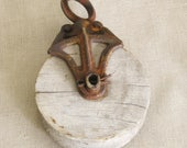 Antique Barn Pulley, Tools, Pulleys, Cast Iron, Metal, Architectural Salvage, Wood, Farm Decor, Cabin, Rustic, Wood Wheel, Art Supplies