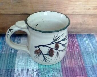 Pottery pinecone coffee mug - northwoods handmade mug - green woodland coffee cup - green pine ceramic mug - handmade pottery mug - 1712