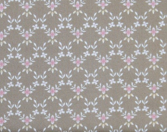 Pink and White Floral Lattice on Light Brown 100% Cotton Quilt Fabric for Sale, Graceful Moments Little Lattice MAS8325-AE, Fat Quarter
