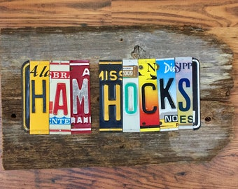 HAM HOCKS license plate sign tomboyART art recycled upcycled pig BBQ tomboyART tomboy art SouL FooD