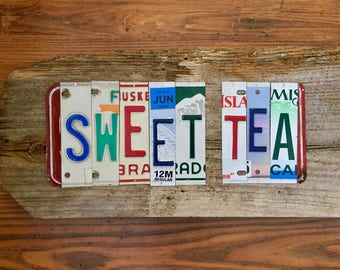 SWEET TEA license plate sign tomboyART art recycled upcycled pig BBQ tomboyART tomboy art SouL FooD