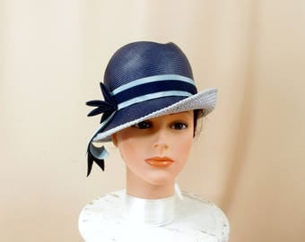 Mr Paul Navy Blue Cloche Hat * 60s Hat * 1960s Hat * Vintage Blue Hat * Blue Straw Hat * Blue Fedora * Blue Bucket Hat * Mod Hat * Mad Men