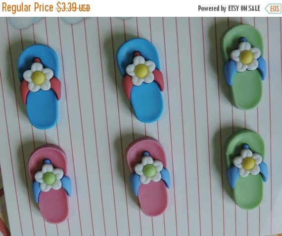 SALE Flip Flop Buttons, Carded Set of 6 Buttons, 3 Colors, Fun in the Sun Collection by Buttons Galore, Novelty Shank Back Buttons, Embellis