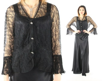 Vintage 40's Lace Jacket Bell Sleeves Black Sheer Blouse Long Sleeve Button Up Shirt Blouse Bolero 1940s Medium M