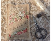 Handmade lavender sachet vintage style rose fabric french lace mother of pearl buttons Paris by olive grove primitives
