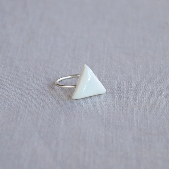 TRIANGLE stackable ring. White porcelain, celadon blue ceramic glaze, silver plated band, trending geometric jewellery