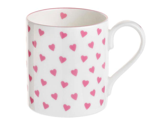 Nina Campbell HEARTS (Pink or Blue) MUG Fine Bone China Made in England, for engagement gift, afternoon tea, morning coffee, birthday gift