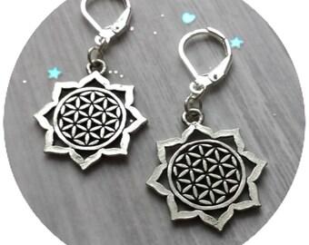 Flower of Life Mandala Sacred Geometry earrings, sold per pair