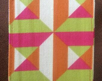 Geometric, green, orange, luggage tag, travel, backpack, gift