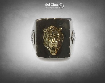 king lion's Large head solid sterling silver 925 ezi zino Mexico Mexican Rockabilly Style