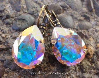 AB Swarovski Iridescent Pear Shaped Crystal Drop Earrings, Aurora Borealis Big Crystal Dangle Earrings, Bridesmaid/Bridal Leverback Earrings