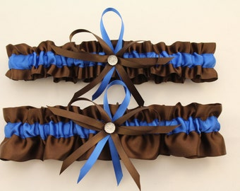 Brown and Royal Blue Wedding Garter Set-Your Choice, Single or Set