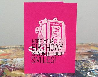 Birthday Is Worth 1,000 Smiles – Screenprint Birthday Card