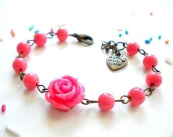 First Birthday Girl Gift Coral Bracelet Summer Flower Girl Jewelry Children Bracelet Shower Party Gift Girl Baby Girl First Birthday