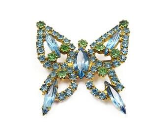 Vintage Blue Green Rhinestone Butterfly Brooch - Vintage Brooch, Butterfly Pin, Vintage Jewelry
