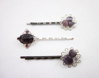 Cats Eye Accessories -- Purple & Silver Hair Clips -- Purple Bling Hair Accessories -- Gemstone Hair Pins -- Purple Glass Hair Pins