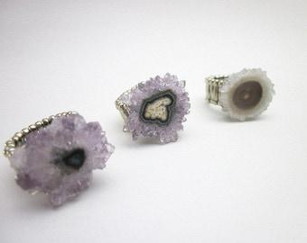 Raw Gemstone Rings -- Natural Quartz Ring -- Amethyst Gem Ring -- Solar Quartz Ring -- Stalactite Rings -- Gemstone Stretch Rings -- Stone