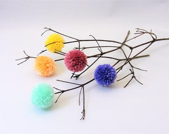 Pom Pom Flowers - Mother's Day Gift - Pastels - Nursery/Kids' Rooms - Party Centerpiece - Minimalist Decor - Peach Mint Yellow Pink Lavender