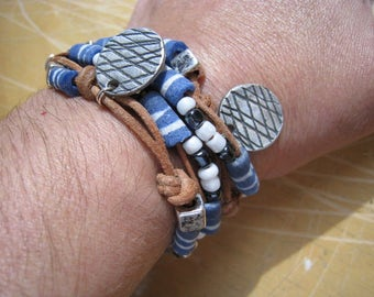African Powdered Glass Tube Bead and Fine Silver Disk Bracelet - Bead Bracelet - Blue Bracelet - Wrap Bracelet - Leather Bracelet