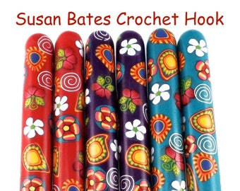 Crochet Hook Paisley, Polymer Clay Covered Susan Bates Crochet Hook, Ergonomic Crochet Hook, Crochet Hook Sizes B-N,  Mother's Day