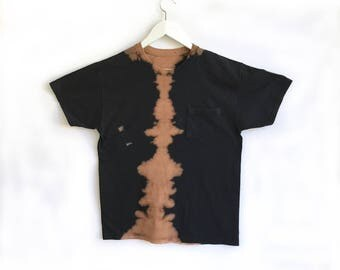 Hand Dyed Black and Tan Graphic Lava T-shirt  in Small