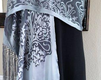 """Hand painted Silk Shawls w Fringe Silk Silver Shawl Art Nouveau 72""""x14"""" Silver Silk Scarf Mother-of-the-Groom Wedding Shawl by Rosanna"""