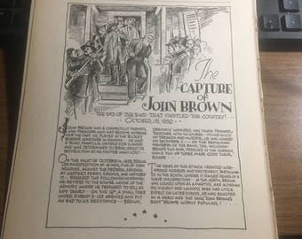 The Capture of John Brown 1859 .1933 book page history print illustration . Art frameable history