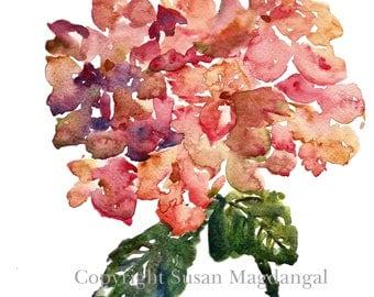 Hydrangea Watercolor, Fine Art Print 8x10, Watercolor Flowers
