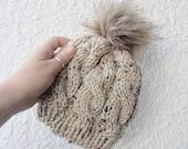 Knit Pom Pom Hat / Knit Kid's Hat / Ski Bunny Knit Hat/ Knit Baby Hat / Fur Pom Pom Hat / Cable Knit Beanie / Toddler Hat / Photo Prop Hat