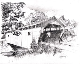 Cambridge Junction Covered Bridge - Open edition print of an original drawing