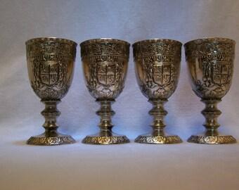 Barware, Goblets, Silver Plate Sake Goblets, Miniature Sake Goblets, Shot Glasses