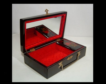 Dark mahogany brown lacquered jewelry box with red velvet ~ hinged ~ mirror ~ large trinket case with copper floral decoration