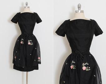 Vintage 50s Dress | vintage 1950s dress | detachable skirt | xs/s | 5835