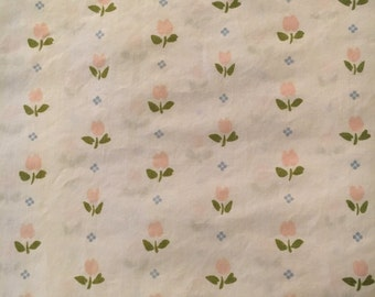Vtg Twin Flat Bed Sheet - White with Small Pink Tulips - Springmaid
