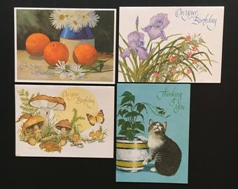 4 Vtg Current Greeting Cards - Unused with Envelopes - Birthday and Thinking Of You