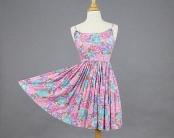SALE 50s Dress, 1950s Rose Print Sundress, Vintage 1950s Full Skirt Dress, XS