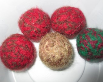 Small Wool Cat Toy Balls Crocheted by SuzannesStitches, Wool Cat Toy Balls, Small Cat Toy Balls, Crochet Cat Toy Balls, Handmade Wool Toys