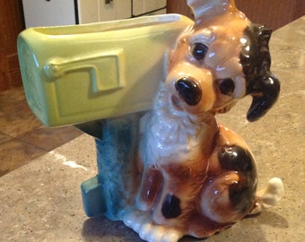 Vintage Royal Copley Puppy Mailbox Pottery Figurine Planter Vase Spaniel Terrier Dog