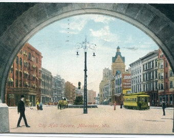 City Hall Square Arch Streetcar Milwaukee Wisconsin 1908 postcard