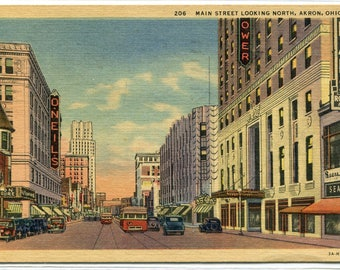 Main Street Sears Department Store Akron Ohio 1954 linen postcard