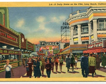 People on The Pike Long Beach California 1955 postcard