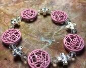 RESERVED pink and black 1975 inspired bracelets