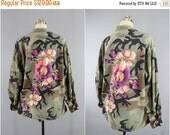 SALE - Vintage Embroidered Camo Jacket / Military Army Camouflage Coat / Purple Peach Floral Embroidery / XL Xxl Plus